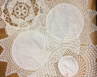 Antique English 1900's Workhouse Crochet Doily Collection