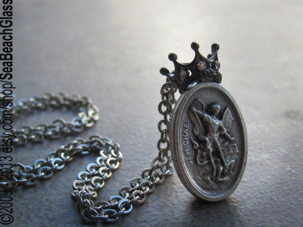 inscription michael on heavy pendant necklace beautiful grande products russian greater my with st shield back prayer