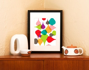 Inkdrops Abstract Colorful Art Print - 8 x 10 Wall Decor (Free Shipping in US)