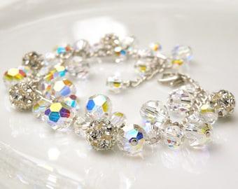 Wedding Cluster Bracelet, Clear Swarovski Crystal, Sterling Silver Chain, Rhinestone, Luxe Statement Bridal Bracelet, Handmade Jewelry