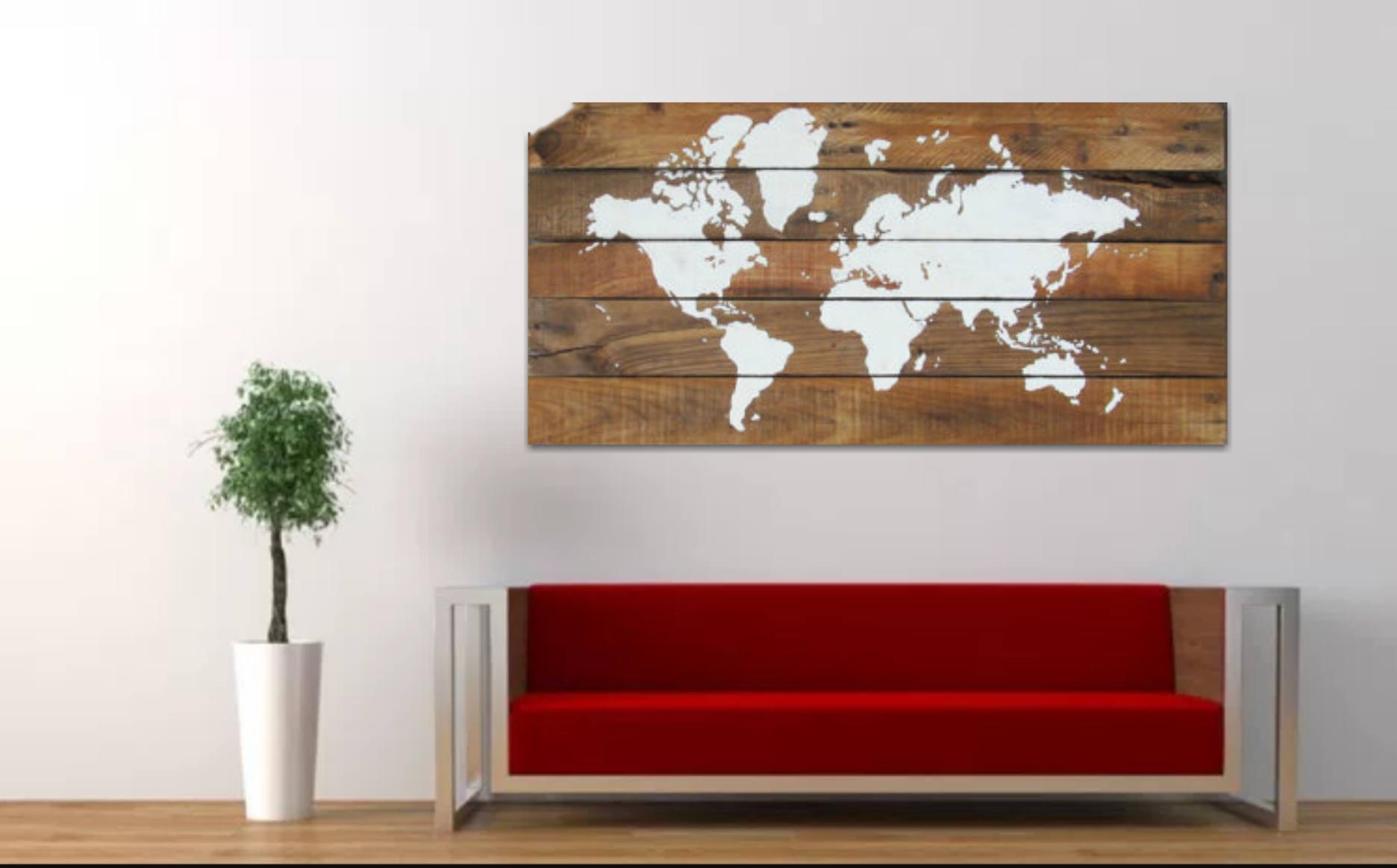 Deco Murale Mappemonde en ce qui concerne 18 x 36 large rustique mappemonde carte du monde