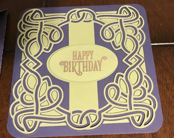 Handmade Celtic Knot Happy Birthday Greeting Card with Envelope