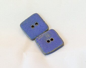 Blue Buttons - Ceramic Buttons - Square Blue Buttons with texture