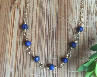 Minimalist Lapis Lazuli and 14 Karat Gold Filled Chain Necklace