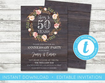 Anniversary invites etsy edit yourself anniversary invitation solutioingenieria Images