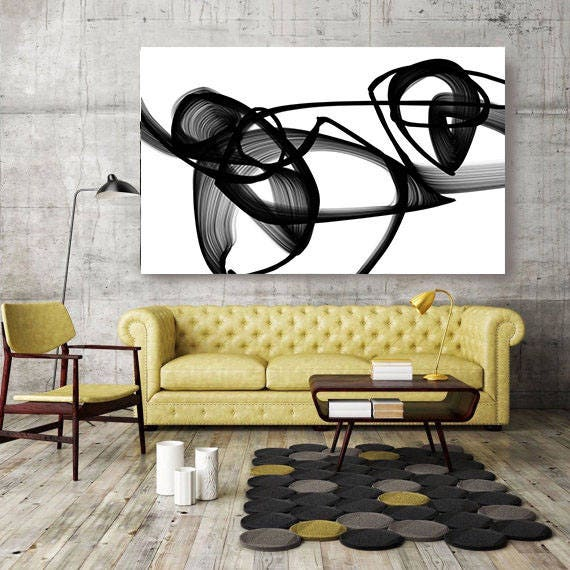 """Abstract Poetry in Black and White, Contemporary Unique Abstract Wall Decor, Large Contemporary Canvas Art Print up to 72"""" by Irena Orlov"""