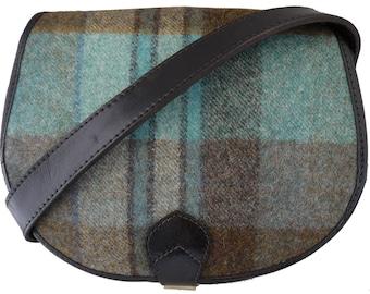 Black Leather and Yorkshire Tweed Saddle Handbag - Blue and green large check