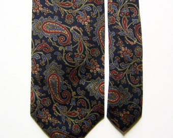 Vintage Brooks Brothers Silk Necktie w/ Classic Navy Blue & Silver, Red Paisley Pattern - New Old Stock Tie