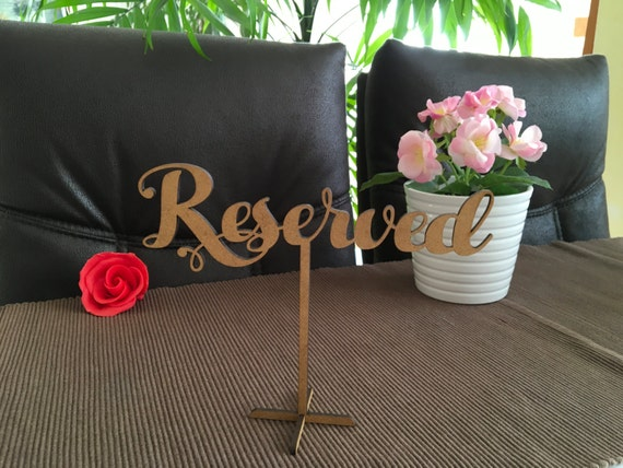 Wood Reserved Table Sign Freestanding Wedding Sign Wooden Calligraphy Reception Signs Reserved sign for wedding Laser cut Rustic reserved