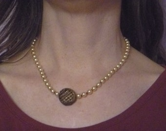 fake pearl choker, ecofriendly choker necklace