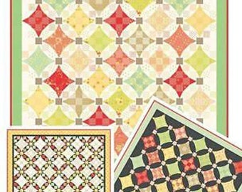 Nine Patch Waltz NEW Quilt Pattern from Fig Tree & Co., Jelly Roll Friendly, 3 versions given and 2 sizes