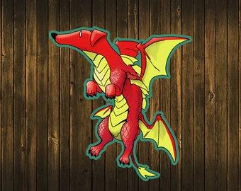 Dragon Dachshund Dog Sticker