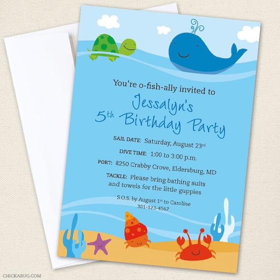 Under the Sea Party Invitations Professionally printed or