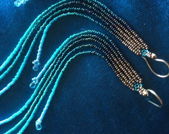 "Gold, Deep Blue Ocean, Sky Fade 7"" Long Seed Bead Earrings with faceted apatite gemstone fringe"