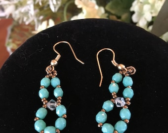 Beautiful Turquoise Stone, Swarovski Crystals,Seed Beads Earrings