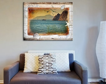 Wall Art Print. Sea photography, Vintage style. Map