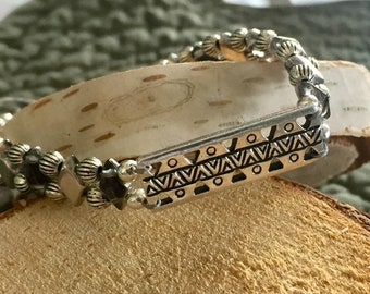 Ethnic Bracelet with Silver Bar Link and Tila Beads