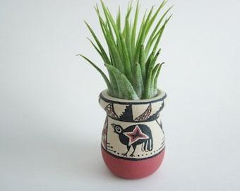 Wood art vase, small vase, Southwest art,  Mimbres art, Air plant holder