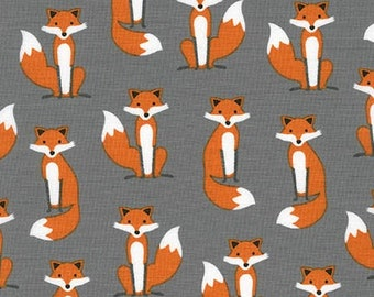 Fabulous FOXES Grey, Robert Kaufman, Fox Fabric, Boys Fabric, Woodland Baby Quilt, Cotton Fabric, Quilt, Gray, Quilting, Fabric By the Yard