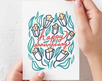 Happy Anniversary - illustrated greeting card - floral decor