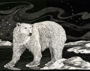 Polar Bear Guardian Art Print of original Scraperboard