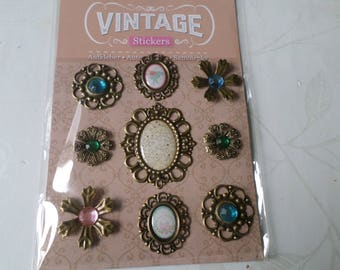 x 9 mixed tape vintage patterned flower/rhinestone metal embellishments/cameo bronze