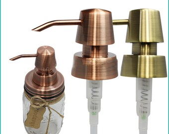 100 Packs Rust proof Copper or Bronze Soap Dispenser 304 Stainless Steel  Pump & Lid DIY Mason Jar Soap Dispenser- NO Jars