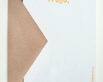 Sunshine Stationery -- A Sunny Hello -- Set of Flat Notes and Envelopes