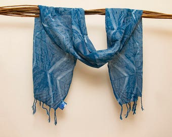 Organic Cotton Shibori Indigo Shawl -Scarves - Geometric Print- Tie Dye - Hand Dyed - Gifts for Him -Gifts for Her -handmade Gifts