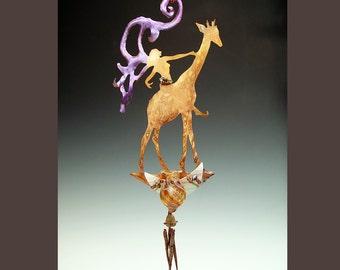 Potion Bottle with Obsidian Wind Chimes - Giraffe Copper Fairy Garden Art Hanging Mobile