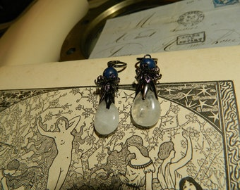 Lapis lazuli, quartz drop earrings and gun metal.