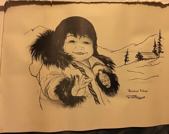 Vintage Alaska's Future by Higgins Native American Artist in Alaska lithograph print, signed and dated 1971