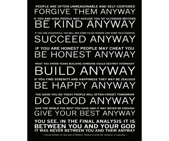 Mother teresas do it anyway poem ready to hang canvas thecheapjerseys Gallery