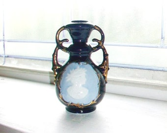 Vintage Blue Cameo Vase Royal Blue Medallion Germany 1910s