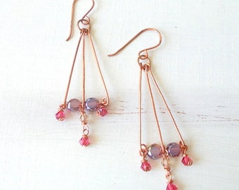 Copper hearrings and pendant beads pink and violet, present for sister, handmade jewelry