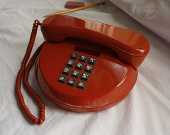 Vintage Pancake Phone - Retro Rendezvous Phone by Northern Telecom - Space Age Phone - Circle Phone - Groovy 1970's Red Phone