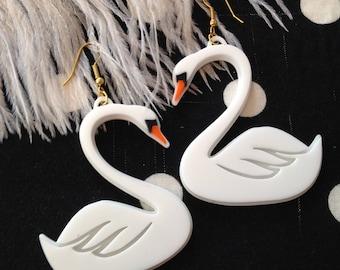 White Swan Earrings