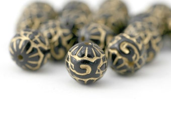 Black Gold Etched Round Ornate Acrylic Beads Carved 12mm (20)