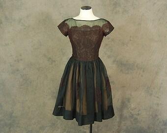 vintage 50s Fall Party Dress - 1950s Lace Illusion Evening Dress - 1950s Black Mesh Cocktail Dress Sz S