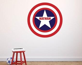 Captain America Wall Decal | Vinyl Wall Decal CAPTAIN AMERICA Large Marvel Kids & Teen Superhero Wall Decal | Marvel SUPERHERO Decals