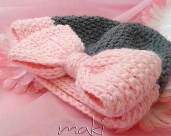 Crochet pattern - BIG BOW baby hat crochet pattern! Beanie crochet pattern. Permission to sell finished items. Pattern No. 177