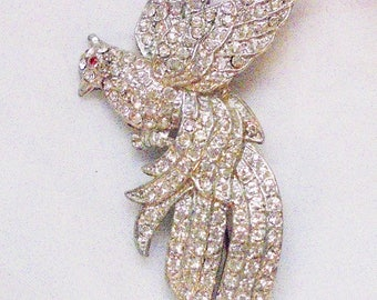 Large Clear Pave Set Rhinestone Exotic Bird Pin Brooch