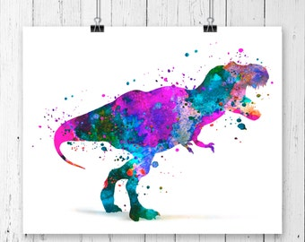 T-Rex Dinosaur #1  Watercolor  Fine  Art Print, Poster, Wall Art, Home Decor, Kids Wall Art, Play Room Wall Art, Wall Decor