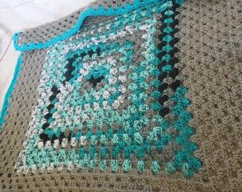 Crochet baby blanket, granny square Crochet baby blanket - turquoise granny square blanket - turquoise gray baby afghan