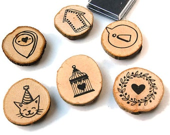 Set of 6 stamps on wood slices, black inkpad, rubber stamps, wooden stamps, scrapbooking, planner stamps, planner supply