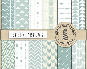Green Arrows Digital Paper Pack | Scrapbook Paper | Printable Backgrounds | 12 JPG, 300dpi Files | BUY5FOR8
