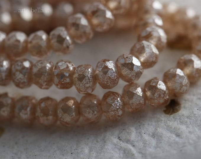 SILVERED PEACH BABIES  .. 30 Premium Picasso Czech Rondelle Glass Beads 3x5mm (6040-st)