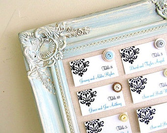 FRAMED MAGNETIC BOARD Wedding Seating Chart Robins Egg Blue Linen Pinboard Message Board Magnet Board Bulletin Board Handmade Cork Board