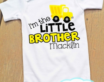 Little Brother Construction Outfit - Bodysuit or Tshirt - Photo prop - Newborn - Personalized