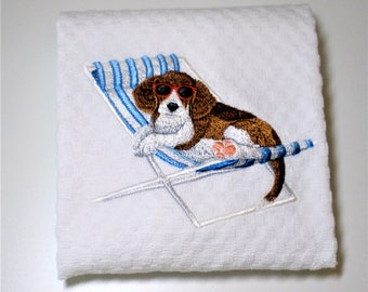 "Beagle Kitchen Towel, Beagle Gift, Summer Towel, Beagle Lover, Beagle Decor, Birthday, Hostess, Beach Decor, Pool Decor, Dish Towel  ""Beach"""